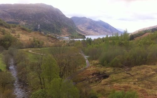 view across Glenfinnan to loch and mountains