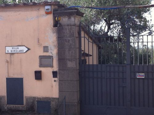 gates to the villa now closed