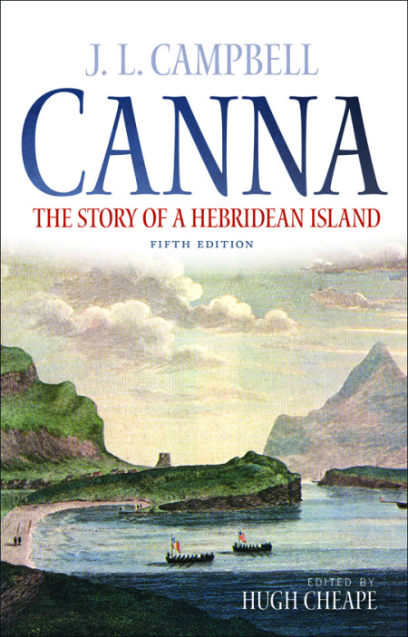 The cover of the book, a watercolour of Canna harbour with old sailing vessels in the bay